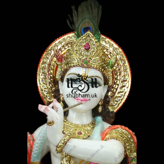 Pure White Marble Beautiful God Krishna Statue - 30 inch