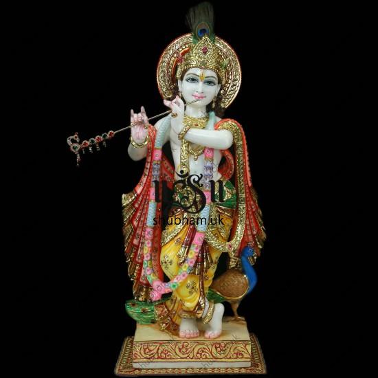 Pure White Marble Beautiful God Krishna Statue - 30 inch