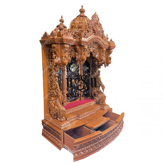 Exquisitely Crafted Big Wooden Mandir Temple Peacock Design for UK