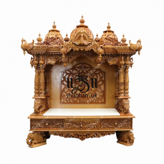 Buy Beautiful Big Engraved Wooden Temple Peacock Design