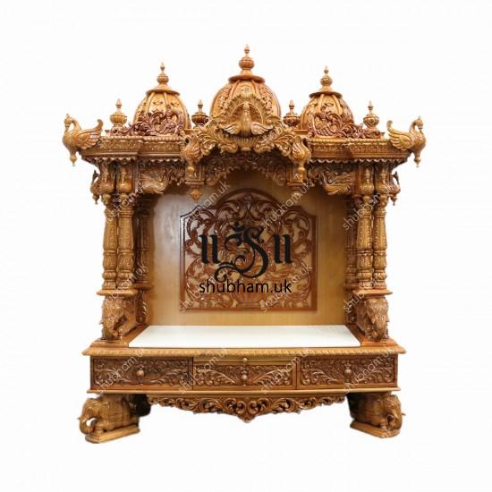 Buy Beautiful Big Engraved Wooden Temple Peacock Design