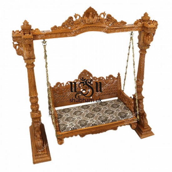 Beautiful Wooden Swing Jhula for UK Home with Peacock Design