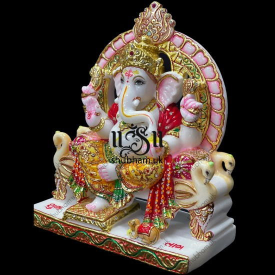 Extremely Beautiful Ganesha God Ganapati White Marble Moorti Statue
