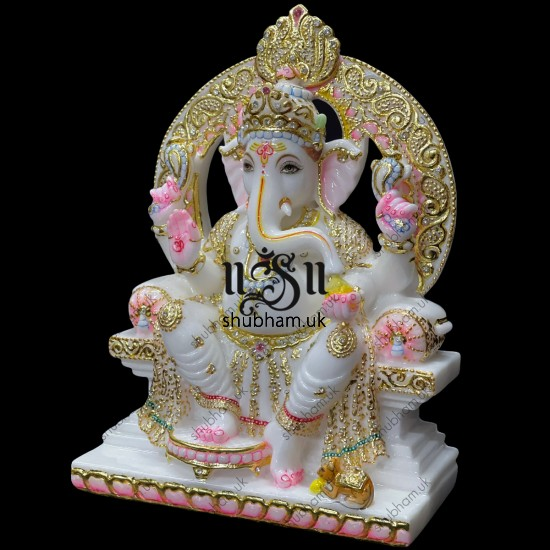 Pure White Marble Ganesh Statue Murti for Your Home Temple in the UK
