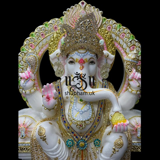 Magnificent Handcrafted White Marble Statue -  Blissful Seated Ganesh Idol for home