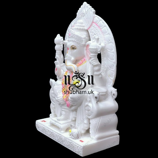 Hindu Ganesha Statue Stunning Ganapati Idol Carved in Pure White Marble