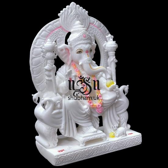 Hindu Ganesha Statue Stunning Ganapati Idol Carved in Pure White Marble