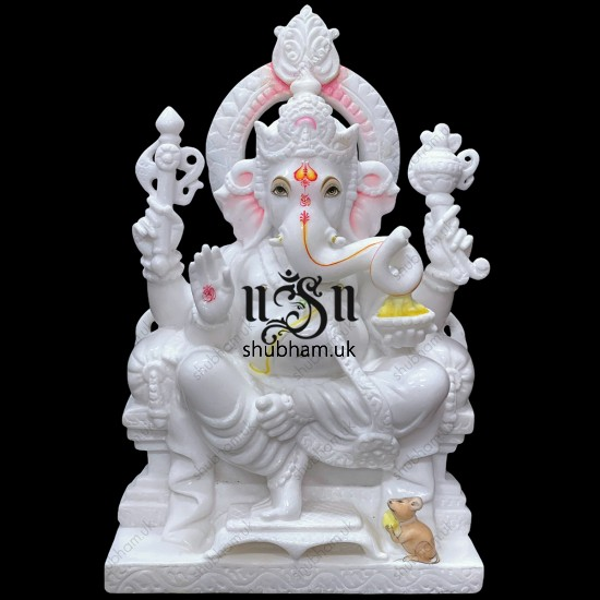 Superior Quality God Statue Lord Ganesh Marble Murti in White Marble UK