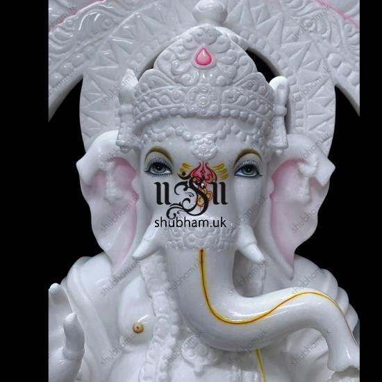 Majestically handcrafted Pure White Marble Ganesha  Statue Murti UK