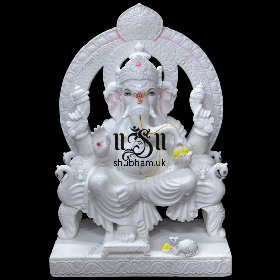 Majestically handcrafted Pure White Marble Ganesha  Statue Murti UK