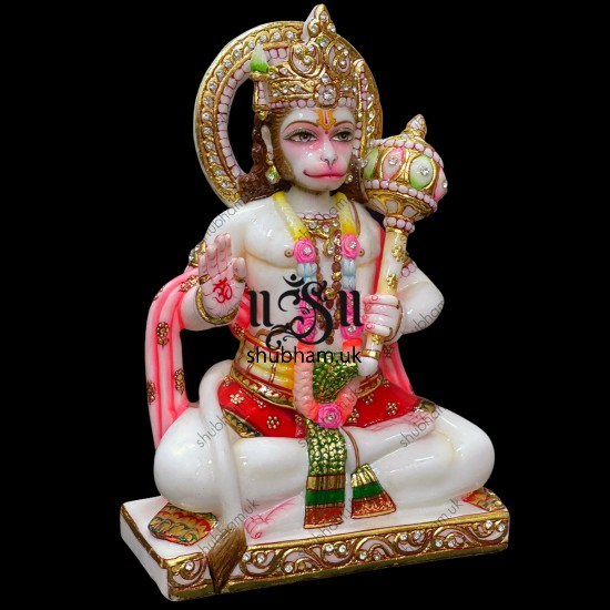 Beautifully Hand Carved Lord Hanuman Marble Statue Idol UK