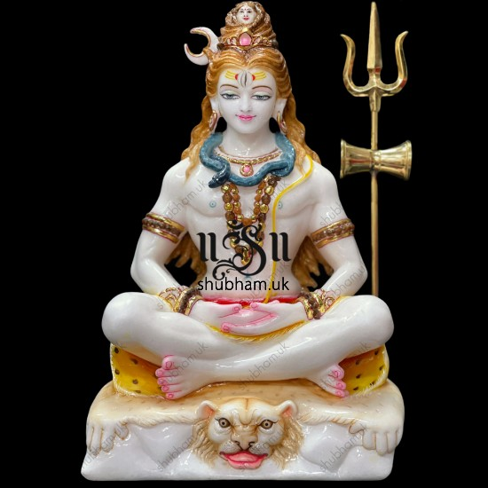 Buy Beautiful Handcarved Marble Idol Statue of Shiv Ji  for your home