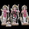 Pure White Marble Elegant Ram Darbar Statue Set for home temple