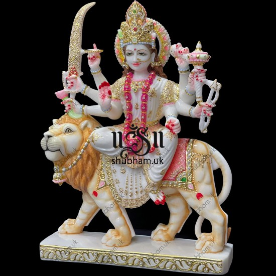 Exquisite White Marble Ambey Durga Maa Statues Murti for home