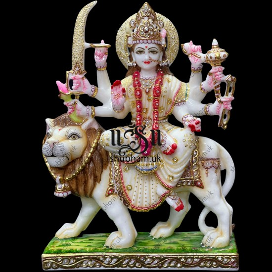 White Marble Durga Maa Statues Moorti in Antique Colour Theme