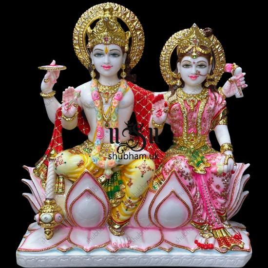 Bhagwan Laxmi Mata Vishnu Narayan Marble Statue 21 inch