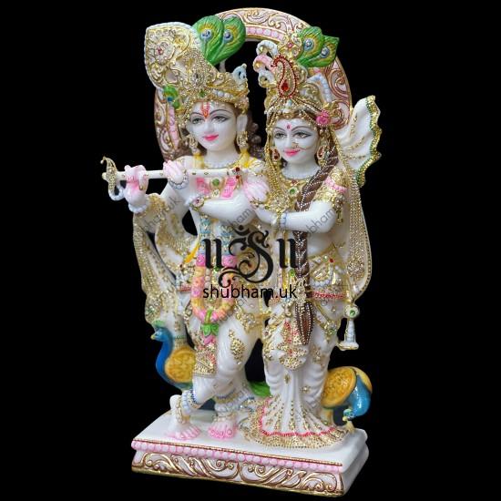Exquisite Pure White Marble Radha Krishna Statue Idol UK 21 inch