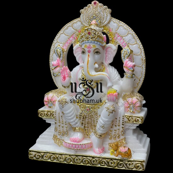 Pure White Vietnam Marble Ganesh Ji Murti Beautiful Carved Statue