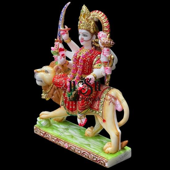 Elegant Durga Mata Idol Murti in Gorgeous  Red Saree in Marble Stone