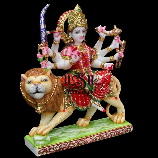 Elegant Durga Mata Idol Murti in Gorgeous  Red Saree in Marble Stone