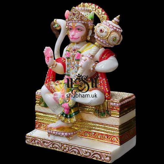 Reflecting Elegance Lord Hanuman Marble Murti Statue for Home