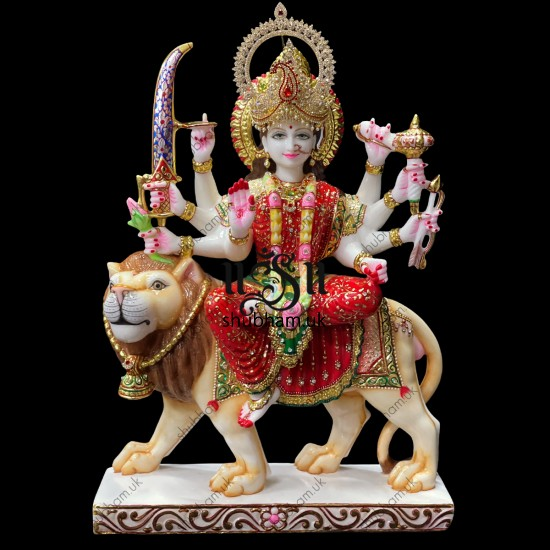 Extremely Beautiful Devi Maa Marble Murti Statue of Durga Mata seated on Lion