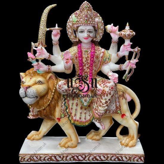 Engraved Beautifully Markrana White Marble Durga Mata Statue 18 inch Murti
