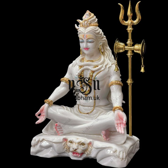 Magnificent 24 inch Pure White Marble Lord Shiva Statue Murti in the UK
