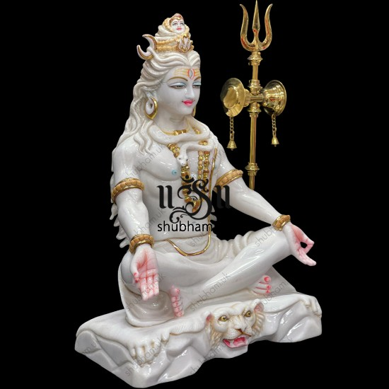 Magnificent 24 inch Pure White Marble Lord Shiva Statue Murti in the UK