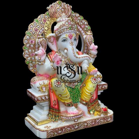 Charming Vinayak Murti Makrana Marble Ganesha Statue for Home