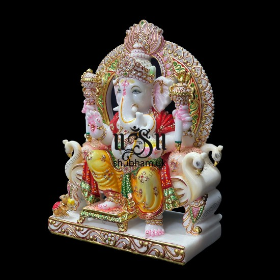 Extremely beautiful  Ganesha Marble Statue seated on Sinhasan for home in the UK