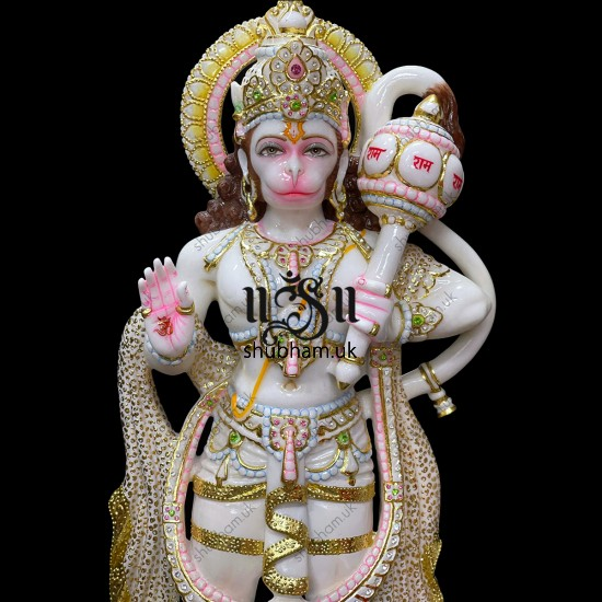 Superior Quality White Marble Lord Hanuman Ji Murti Idol UK 30 inch
