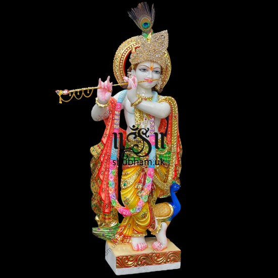 Stunning 30 inch Makrana Marble Statue Murti of Lord Krishna for home