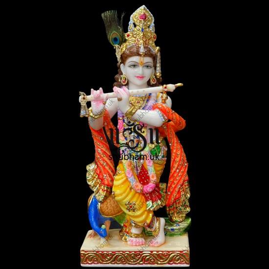 Beautiful Banke Bihari Marble Moorti Statue of Krishna in the UK