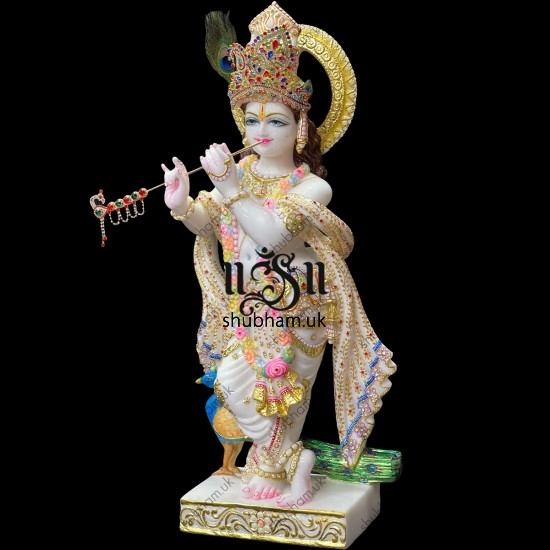 Magnificent Krishna Murti Idol in Vietnam Marble for home in the UK
