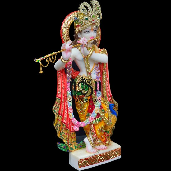 Buy 18 inch Extremely Charming Lord Krishna Marble Idol online