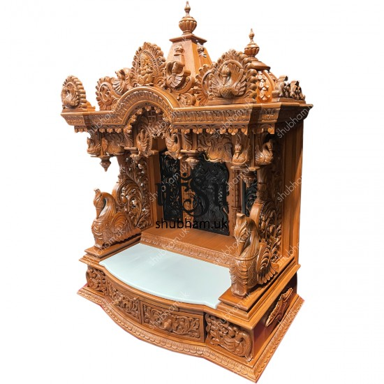 Elegant Crafted Teak wood Temple Puja Mandir UK