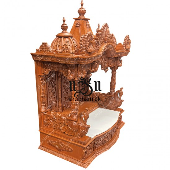 Engraved Beautifully Teak Wood Temple for Home in the UK