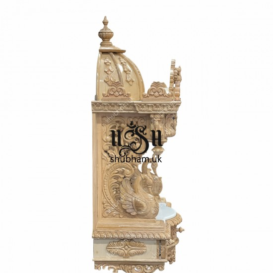Elegant Wall Mounted Sevan Wood Pooja Mandir