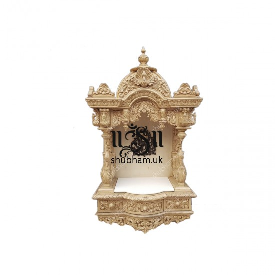 Elegant Wall Mounted Sevan Wood Pooja Mandir