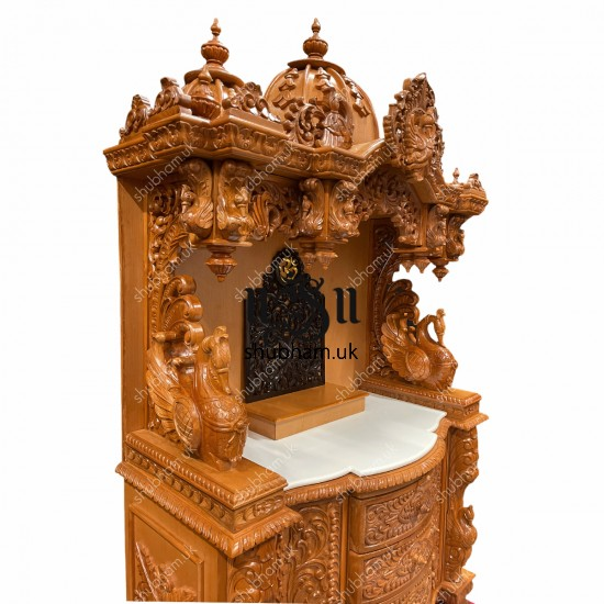 Beautifully Engraved Indian Pooja Mandir in Teak Wood