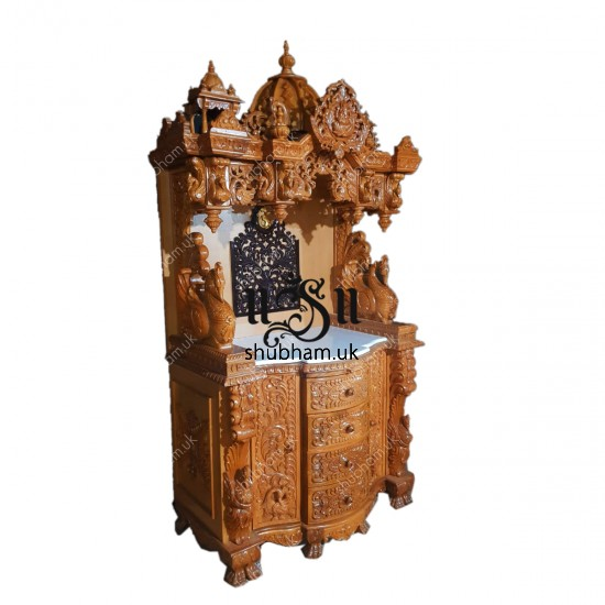 Extremely beautiful Teak Wood Puja temple with high base