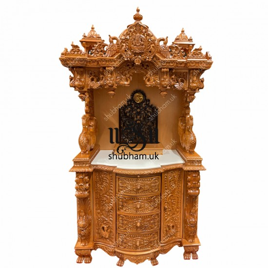 Extremely beautiful Teak Wooden Puja temple with high base