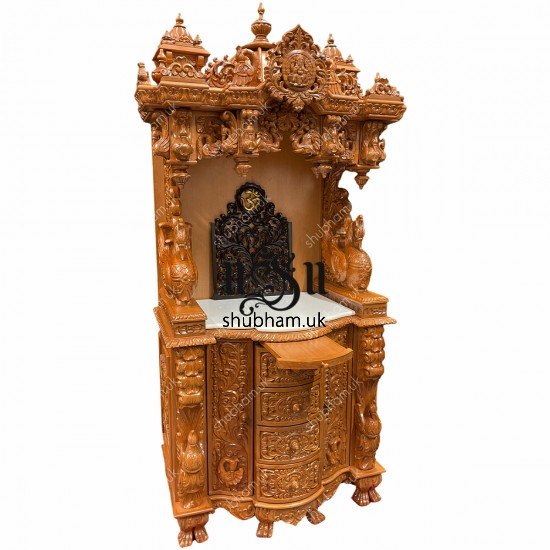 Ganesh design Wooden Temple with beautiful carved drawers