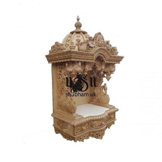 Indian Teak Wood Wall mounted or Floor standing Mandir with Ganesh design