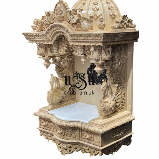 Buy Beautiful Indian Sevan Wood Wall mounted or Floor standing Mandir with Ganesh design
