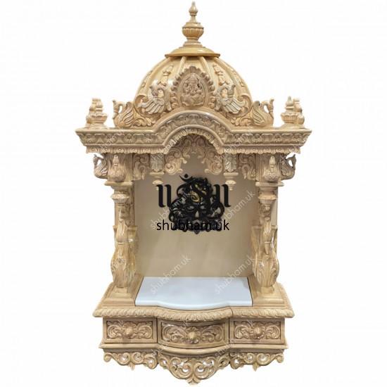 Buy Beautiful Indian Sevan Wood Wall mounted or Floor standing Mandir with Ganesh design