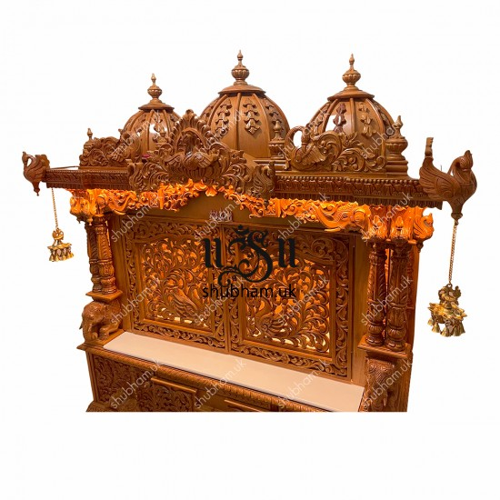 Big Teak Wooden Mandir with doors for Home