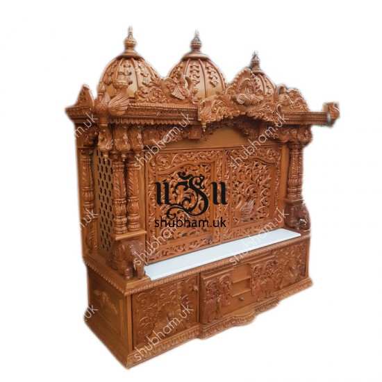 Big Teak Wooden Mandir with doors for Home