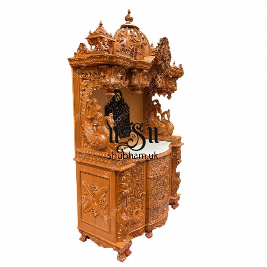 Designer Teak wood Puja Temple with high drawers
